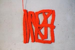 MINE: detail of crocheted yarn