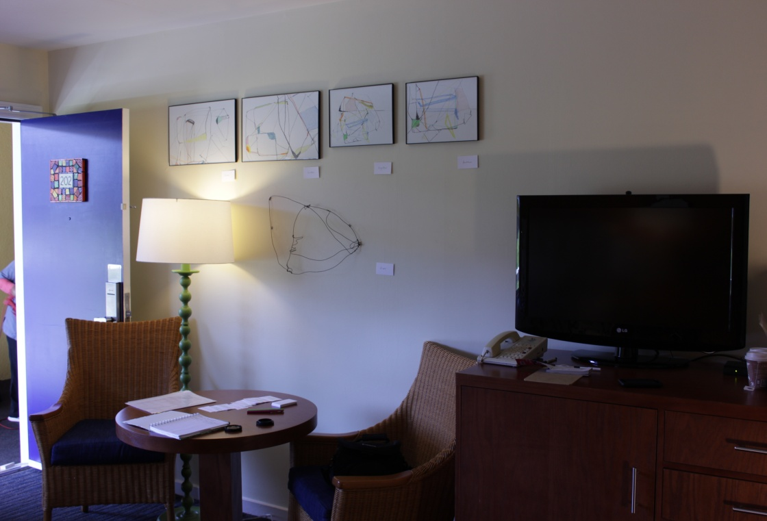 Installation view of drawings at Hotel Del Sol